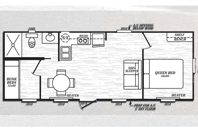 Deluxe Cabin Rental interior floorplan diagram