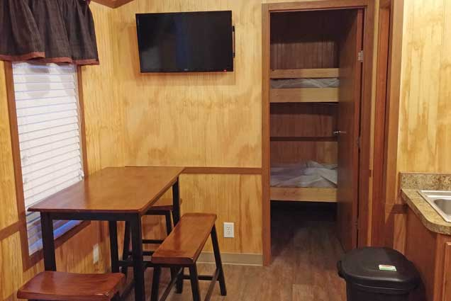Deluxe Cabin Rental interior seating