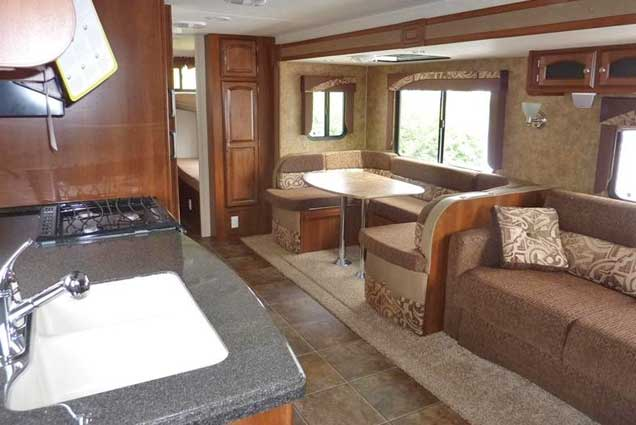 Premium RV rental interior seating area