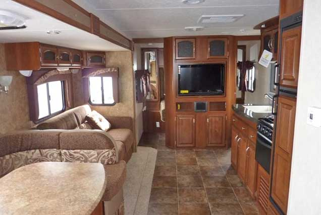 Premium RV rental interior kitchen