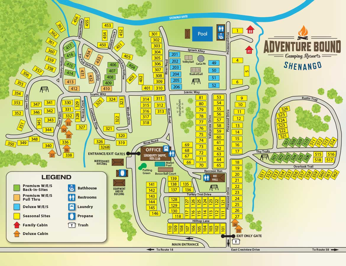 Camping In Tennessee Map.Adventure Bound Camping Resorts Shenango Shenango Valley Pa